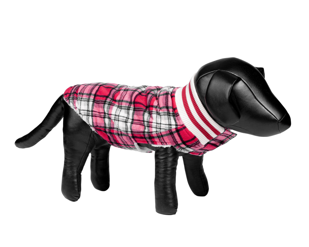 Canadiana Plaid Puppy Coat with Shawl Collar - Deep Red Tartan Plaid