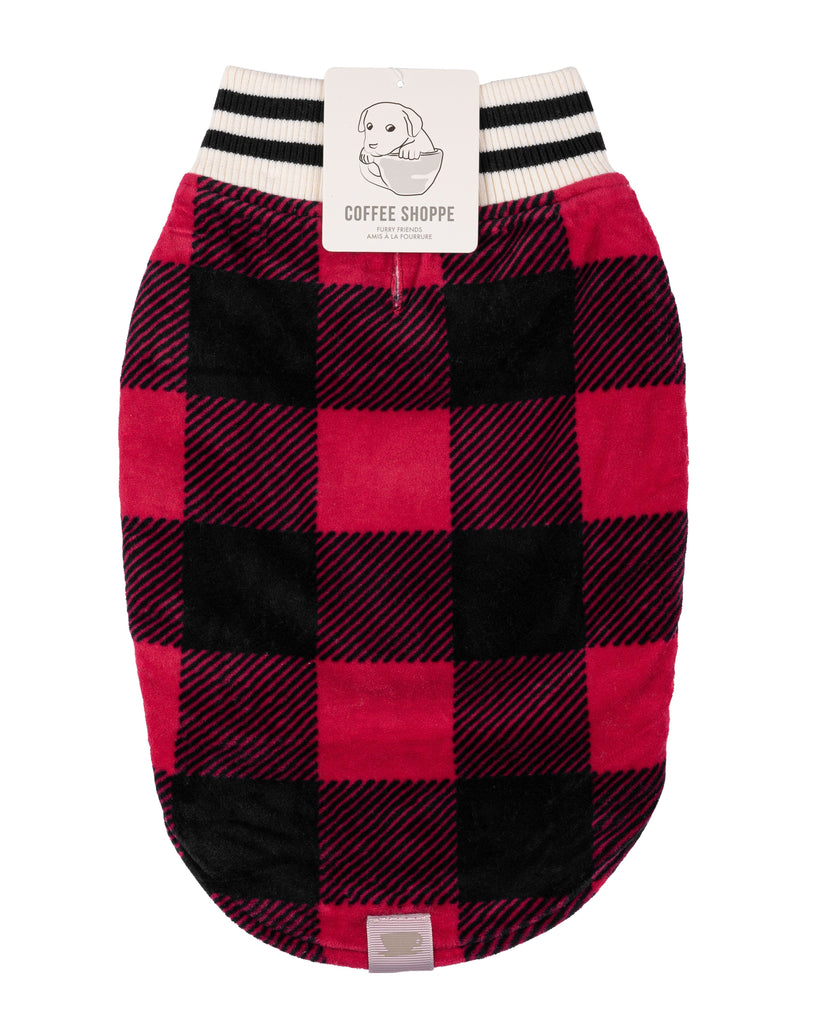 Canadiana Plaid Puppy Coat with Shawl Collar - Deep Red Buffalo Plaid