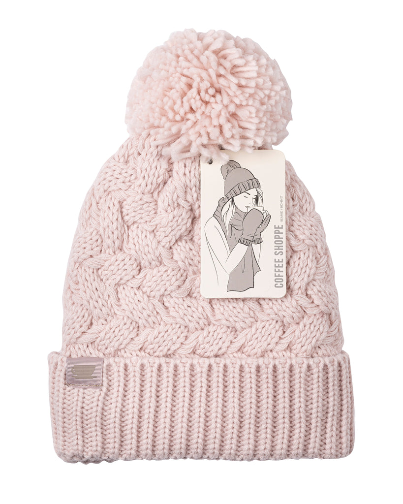 Basket Weave Plush Beanie Hat with Pom Pom - Millennial Pink