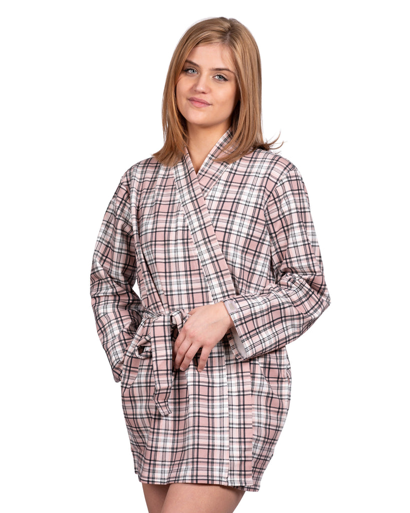 Take-Comfort Lounge Robe - Millennial Pink Plaid