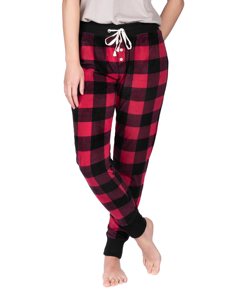 Stay-At-Home Lounge Jogger - Deep Red Buffalo Plaid