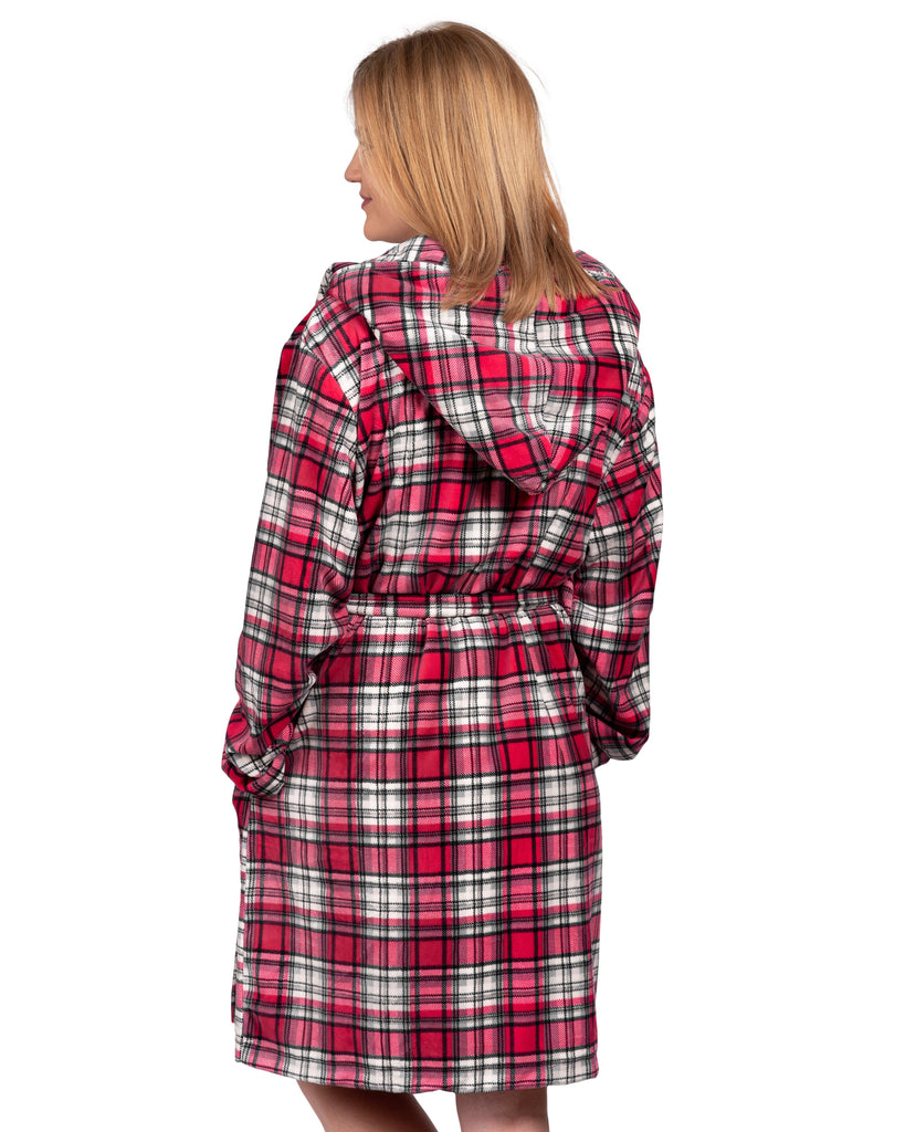 Stay-At-Home Lounge Robe - Deep Red Tartan Plaid