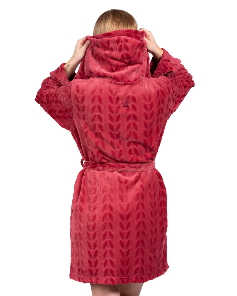 Spa-Day Hooded Plush Robe - Deep Red