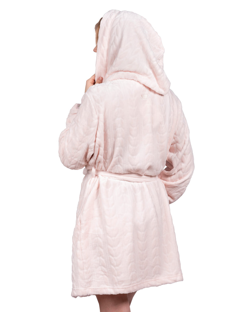 Spa-Day Hooded Plush Robe - Millennial Pink