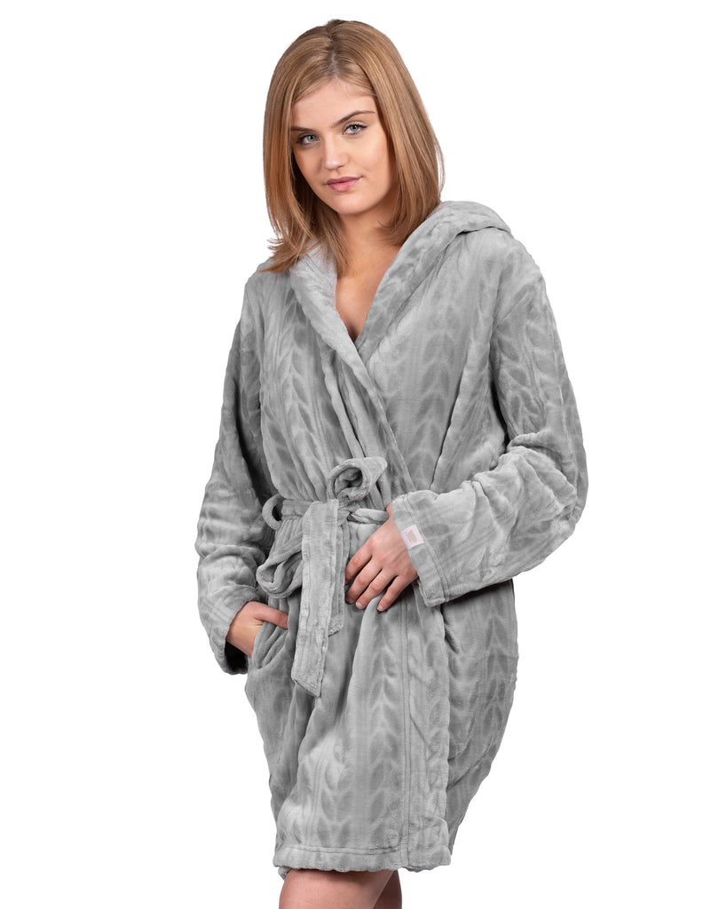 Spa-Day Hooded Plush Robe - Wild Dove