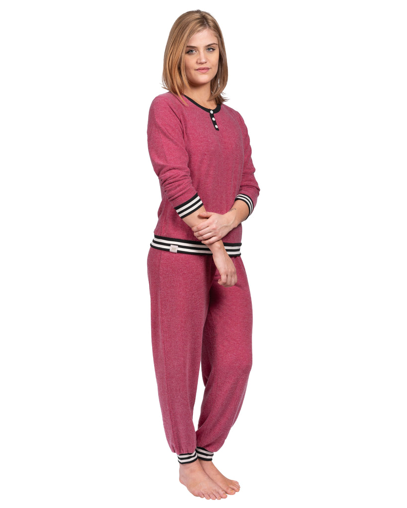 Loungin' Pajama Set - Deep Red Mix