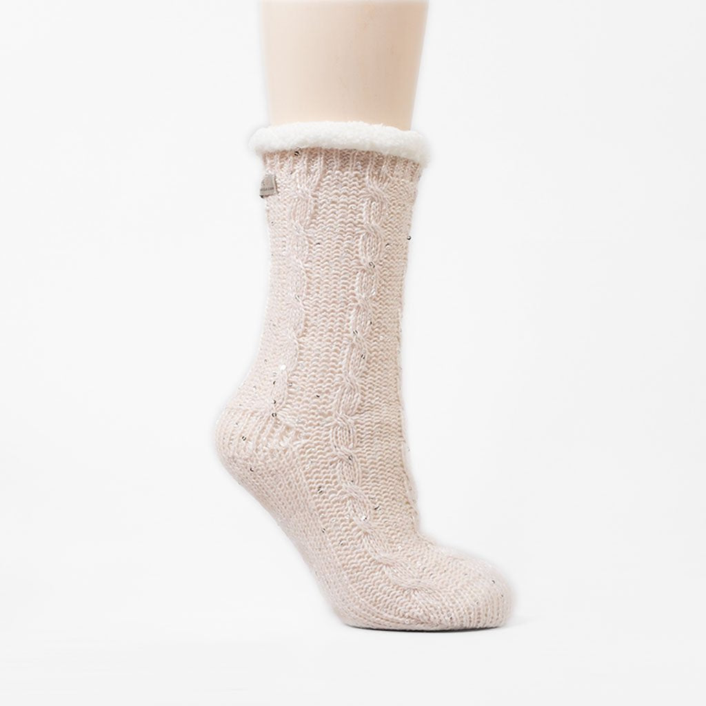 Sparkle and Shine Slipper Sock - Millennial Pink
