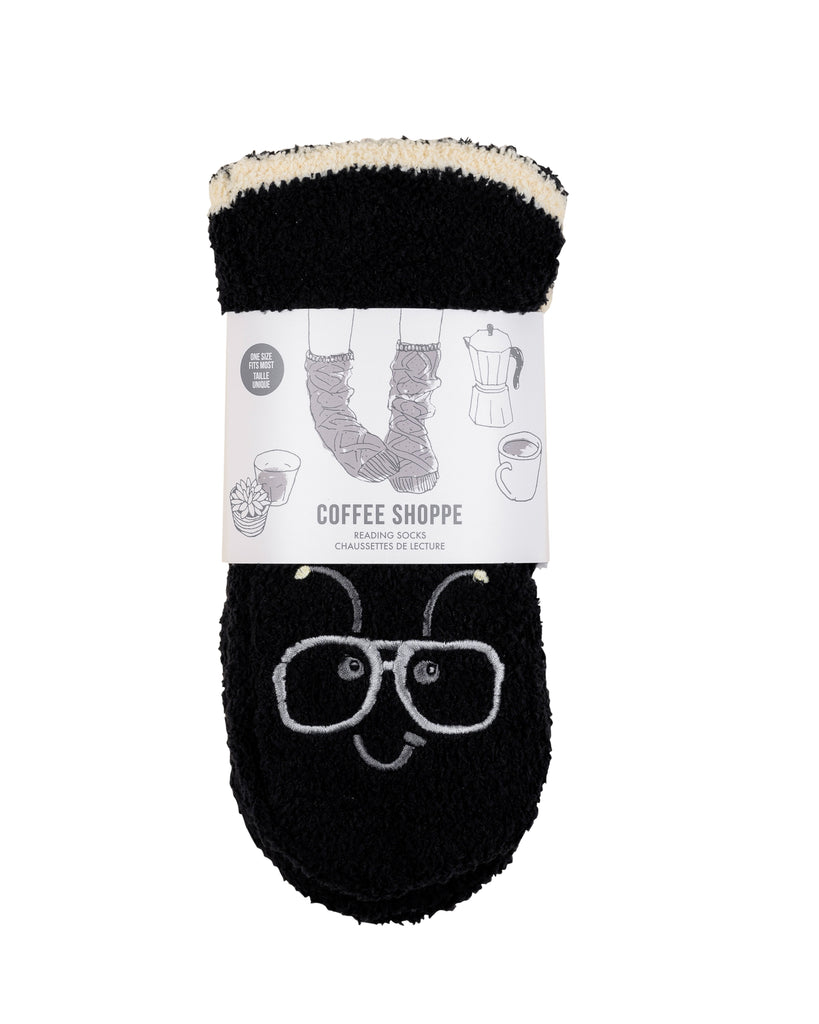 Hipster Companion Plush Marshmallow Lounge Socks - Bee (Black)