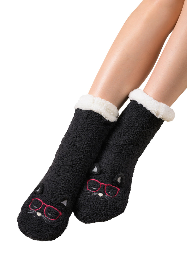 Marshmallow Hipster Companion Lounge Socks - Cat (Black)