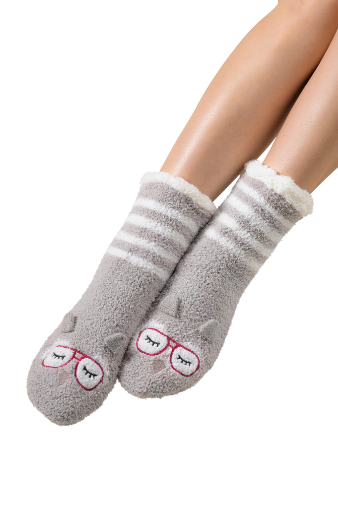 Marshmallow Hipster Companion Lounge Socks - Owl (Silver Cloud)