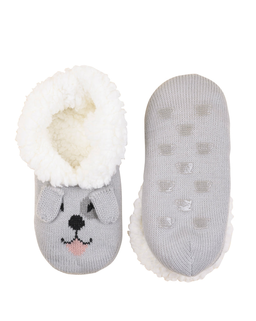 Critter Ankle Slipper - Dog (Soft Grey) L/XL