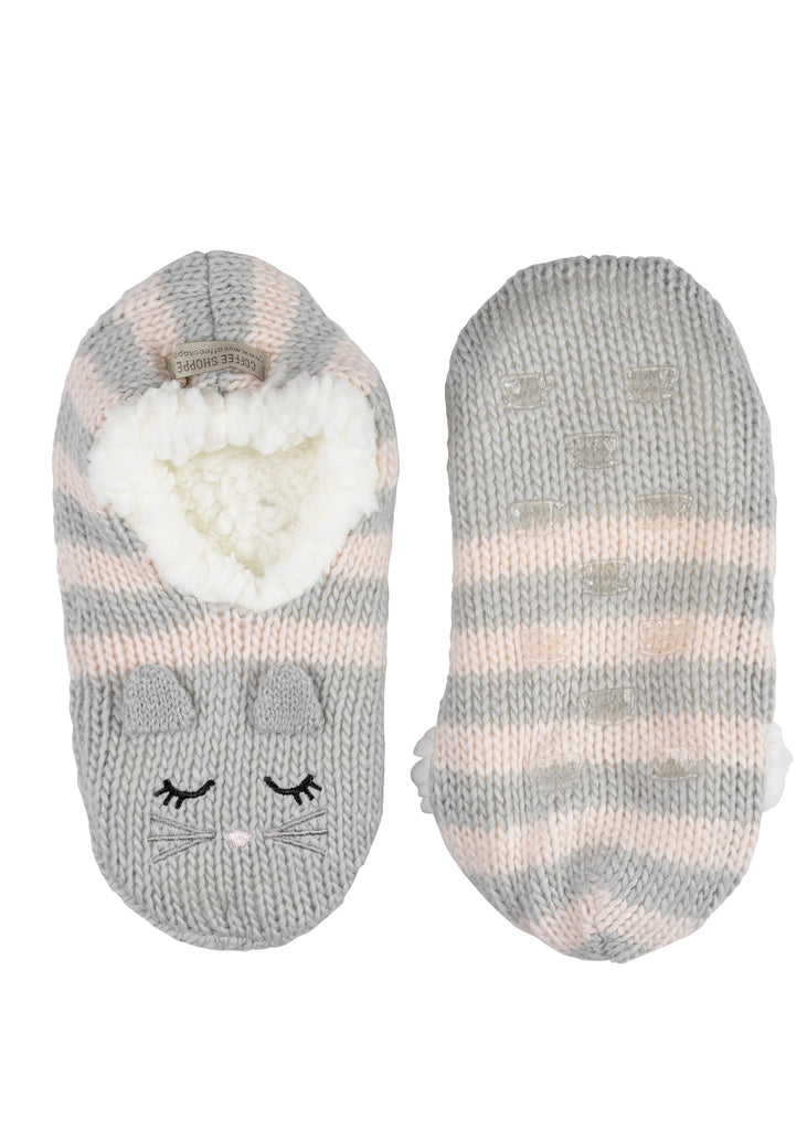 Critter Ankle Slippers - Cat (Soft Grey) S/M