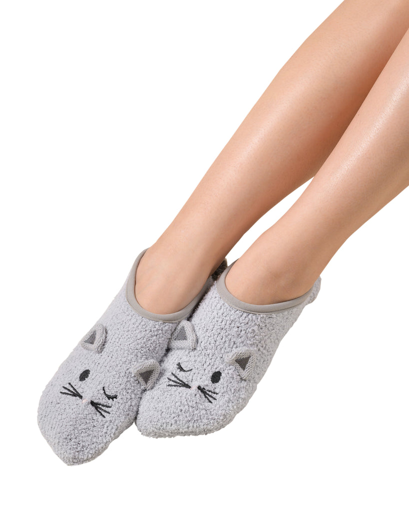 Marshmallow Animal Footlet - Cat (Soft Grey) S/M (5-7)