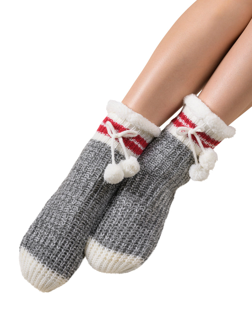 Classic Canadiana Cottage-Life Low-Cut Slipper Socks - Smoked Pearl