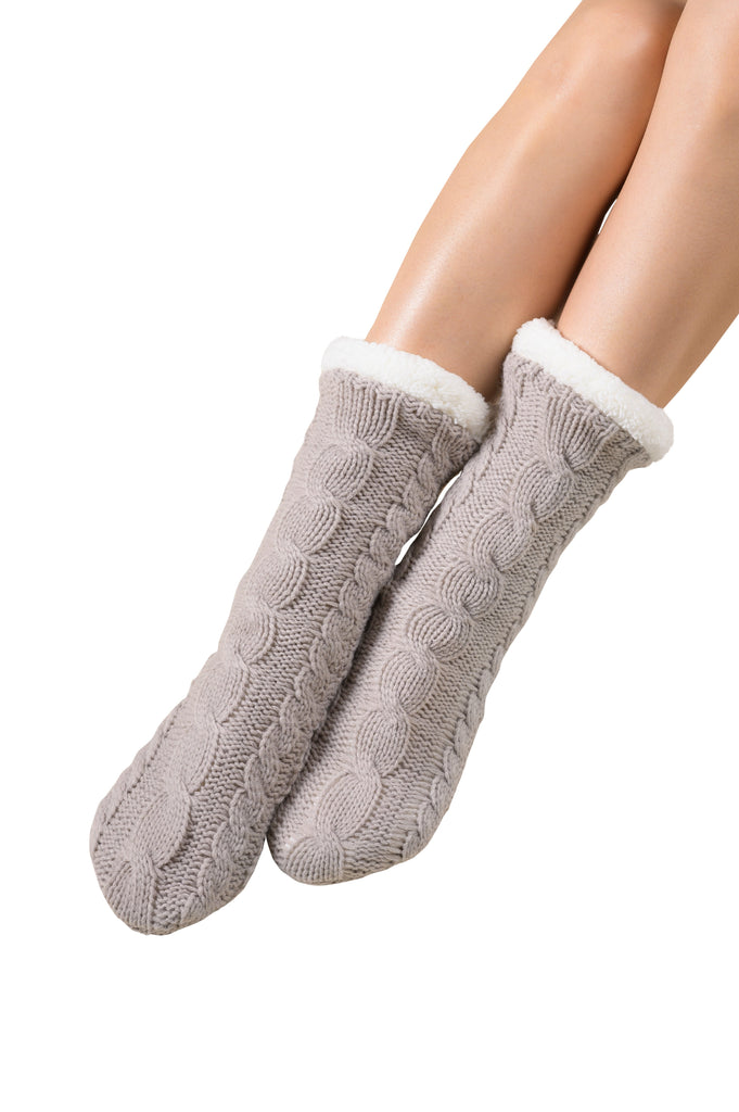 Textured Cable Knit Lounge Socks - Silver Cloud