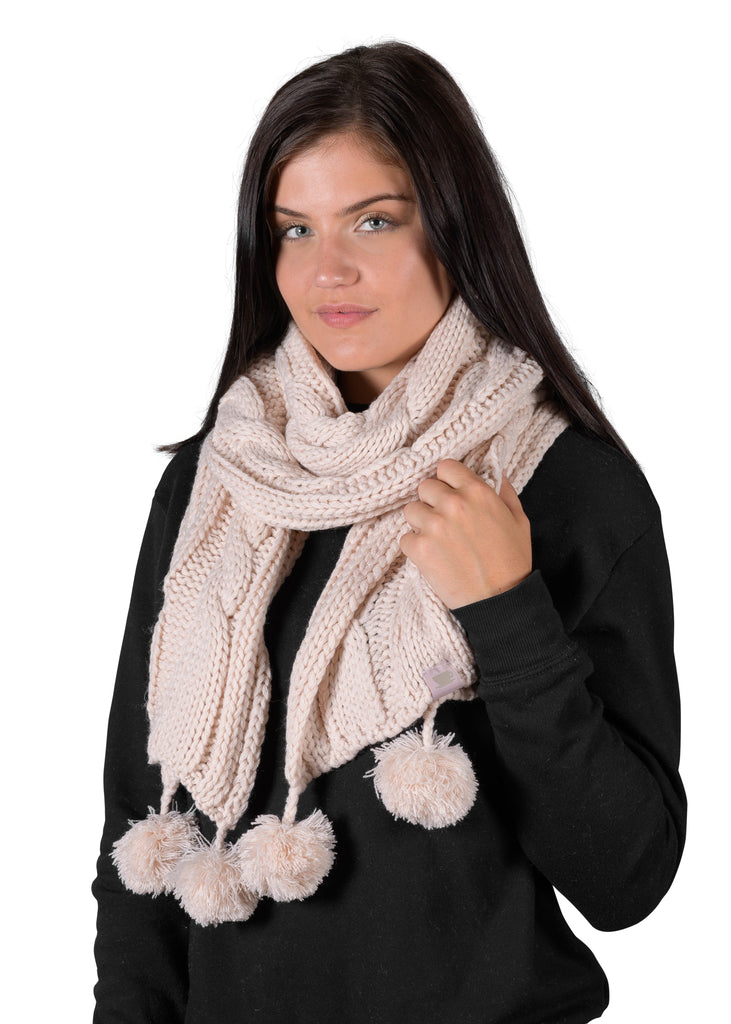 Textured Cable Knit Pom Pom Scarf - Millennial Pink