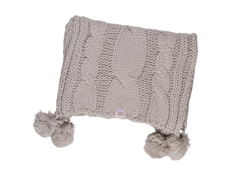 Textured Cable Knit Pom Pom Scarf - Silver Cloud