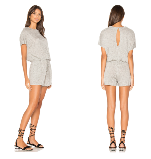 Mink Pink Square Textured Tee Playsuit in Light Grey Marle