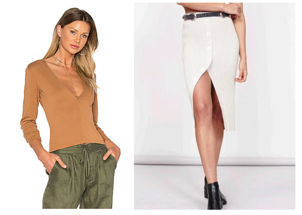 Mink Pink Brushed Modal Deep-V Top in Burnt Amber Mink Pink Natural Necessity Knit Skirt in Natural