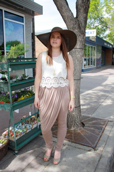 brown harem pants with laser cut mink pink top bamboo ballroom edmonton