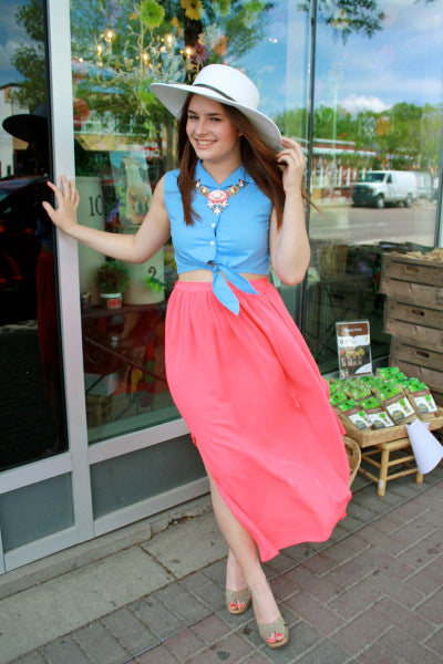 color block summer outfit with pink martini coral maxi skirt with statement necklace bamboo ballroom edmonton