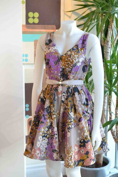 """Darling floral purple dress from Bamboo Ballroom in Edmonton, Alberta, Canada"""
