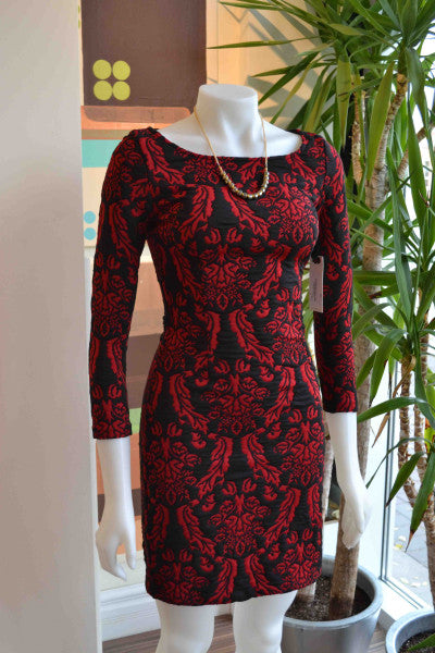 BB Dakota red brocade dress from Bamboo Ballroom in Edmonton, Alberta, Canada