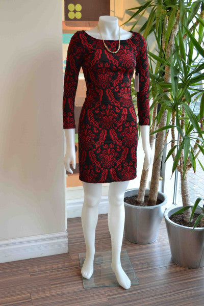 l12BB Dakota red brocade dress from Bamboo Ballroom in Edmonton, Alberta, Canada