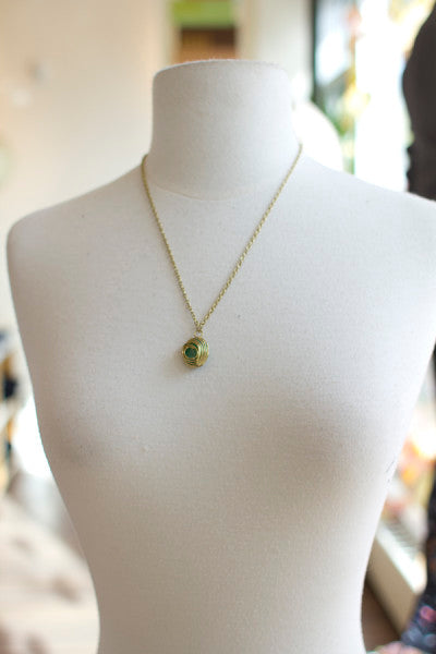 Harriet Grey green stone necklace from Bamboo Ballroom in Edmonton, Alberta, Canada