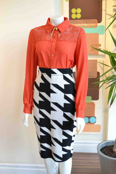 Pink Martini blouse & knit skirt from Bamboo Ballroom in Edmonton, Alberta, Canada