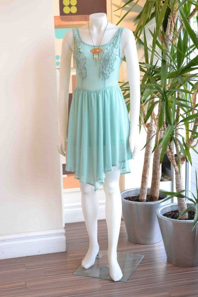 """Solemio mint lace dress from Bamboo Ballroom in Edmonton, Alberta, Canada"""