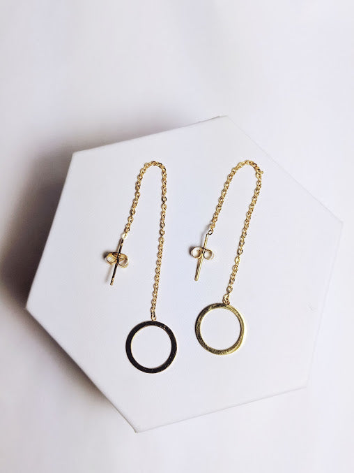 Chain and Circle Drop Down Earring
