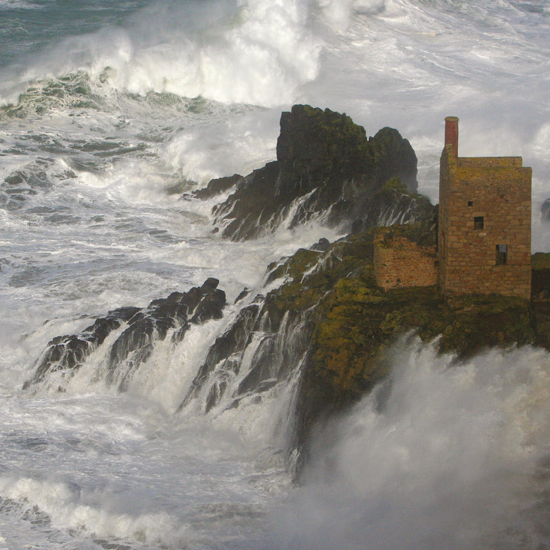 The Crowns at Botallack in a big sea
