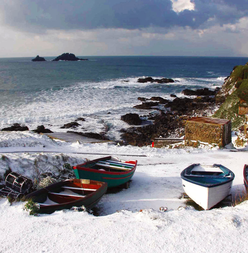 Snow at Priest's Cove, Cape Cornwall Christmas card