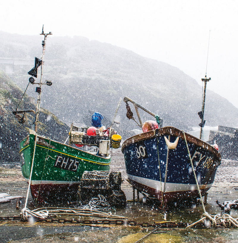 Fishing Boats, Portloe, Christmas card