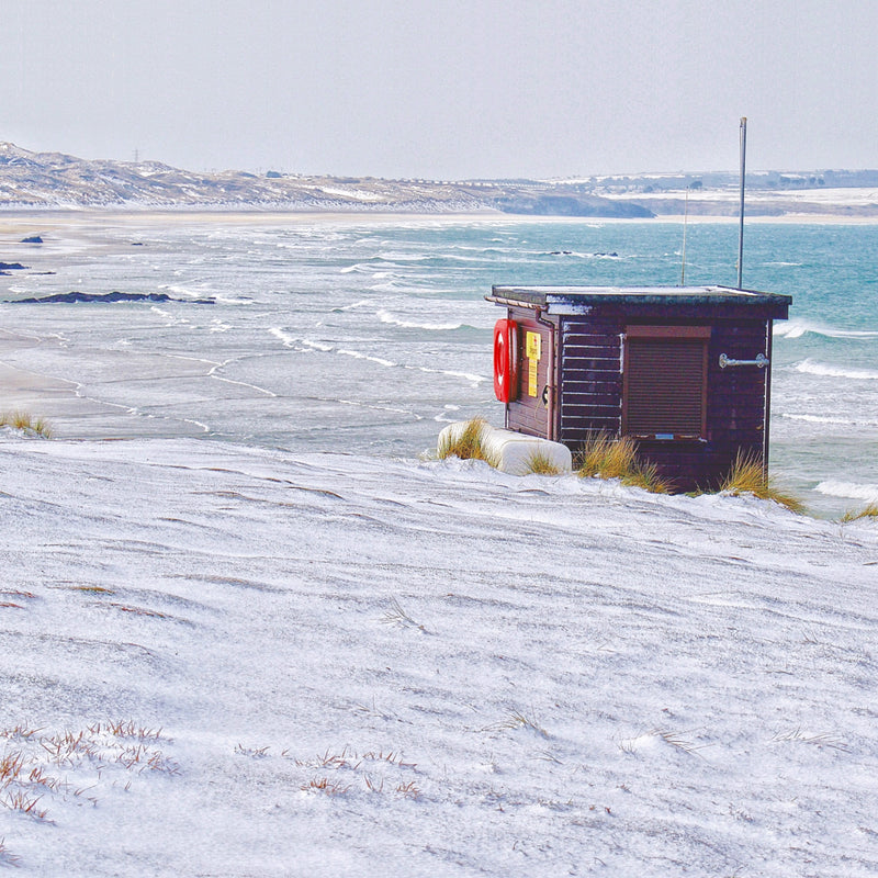 Lifeguard Hut in Snow, Godrevy, Christmas card