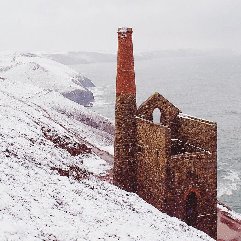 Snow Falling at Wheal Coates, St Agnes