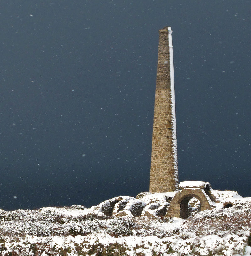 Snow Storm Stack, Cornwall Christmas card