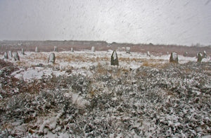Tregeseal Stone Circle in a blizzard, Cornwall