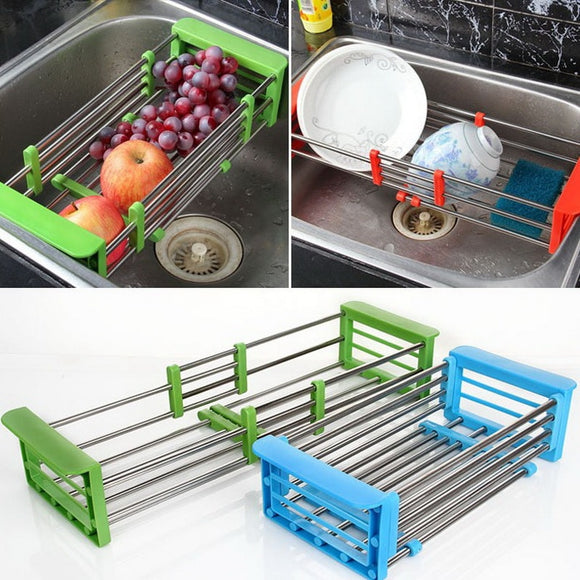 Stainless Steel Adjustable Telescopic Kitchen Over Sink Dish Drying Rack Insert Storage Organizer Fruit Vegetable Tray Drainer - ShopGhDs