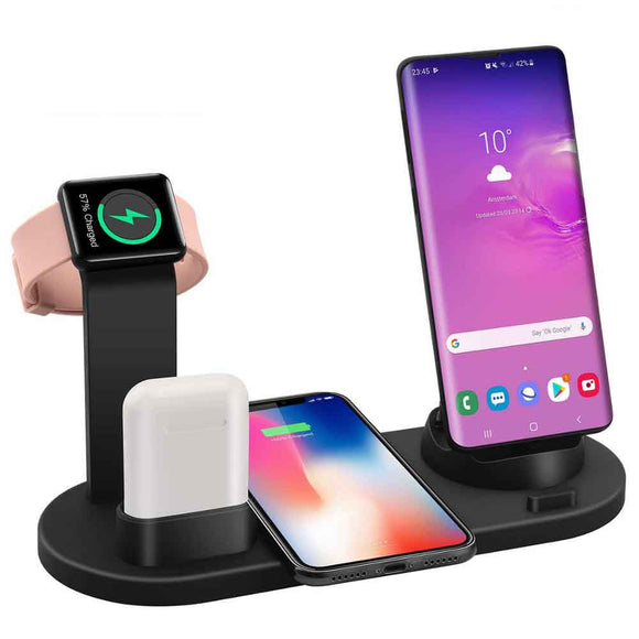 4 in 1 Wireless Charging Dock Station For Apple Watch iPhone X XS XR MAX 11 Pro 8 Airpods 10W Qi Fast Charger Stand Holder - ShopGhDs