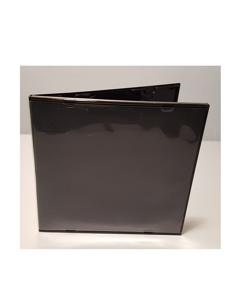 5MM SUPER THIN POLY JEWEL BOX  BLACK WITH OVERWRAP - 100 PACK - Churchavs.com