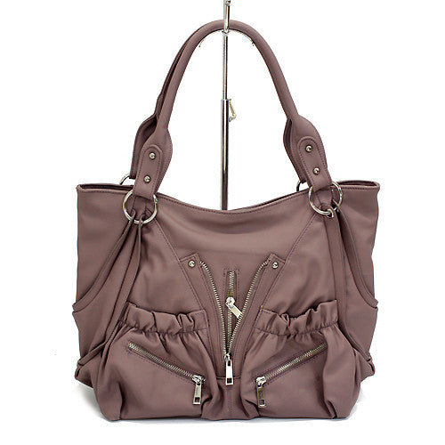Leatherette Soft Faux Leather Zippers Decorated Tote Handbag Bag Gorgeous Purple