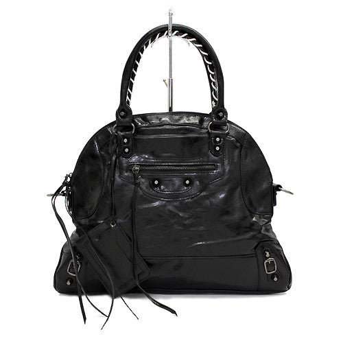Faux Leather Leatherette Tassels Washing Design Flat Satchel Handbag Bag Black