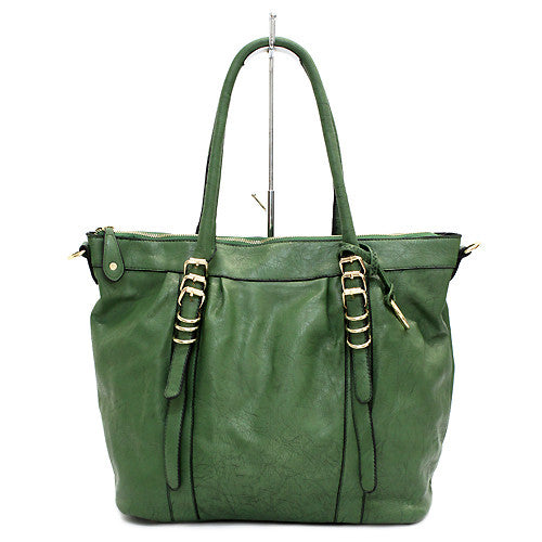 Faux Leather Buckle Design Fashion Tote Handbag Bag Beautiful Green