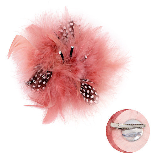 Feather Big Flower Corsage Fashion Brooch 2 Way Hair Pin Beautiful Pink