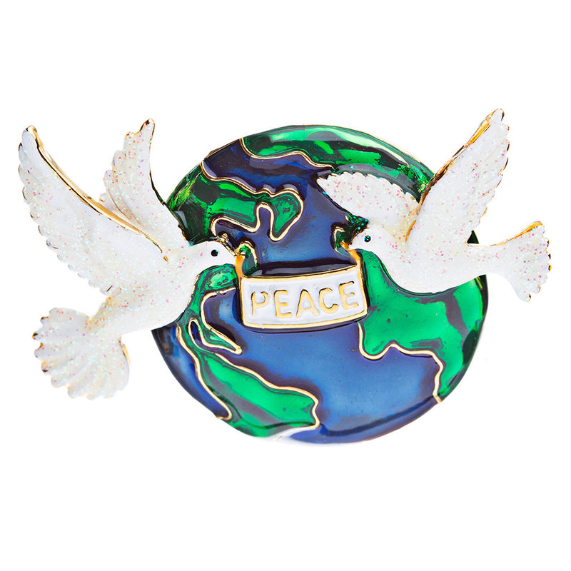 Christmas Jewelry White Dove of Peace Earth Charm Fashion Brooch Pin BH29