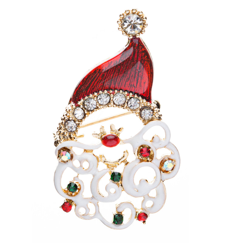 Christmas Jewelry Crystal Rhinestone Santa Claus Face Charm Brooch Pin BH64