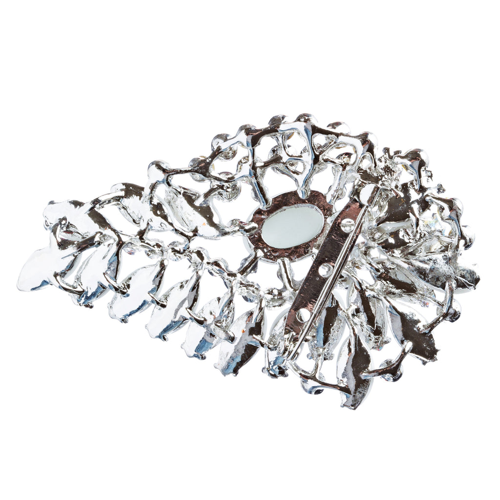 Bridal Wedding Jewelry Crystal Rhinestone Gorgeous Brooch Pin BH175 Silver