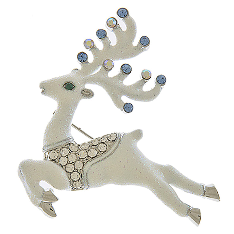 Christmas Jewelry Holiday Gorgeous Crystal Prancing Reindeer Brooch BH219 White